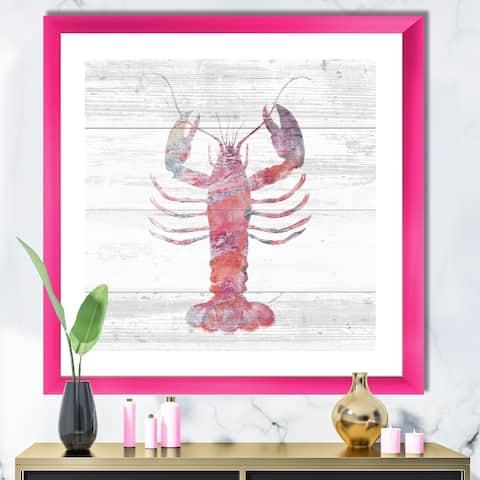 Designart 'Pink lobster Ocean Life' Nautical & Coastal Framed Art Print