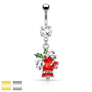 "Gem Paved Jingle Bells Dangle Belly Button Navel Ring - 14GA - 3/8"" Long"
