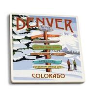 Denver, Colorado - Destinations Sign - LP Artwork (Set of 4 Ceramic Coasters)