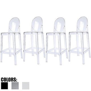 "2xhome - Set of 4 Clear Modern 25"" Seat Stackable Bar Stool Counter Height With Back Plastic Chairs For Home Restaurant Office"
