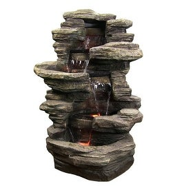 Sunnydaze Stacked Shale Electric Outdoor Waterfalll with LED Lights, 38 Inch Tal