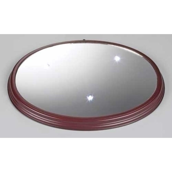 """Icy Crystal Lighted LED Mirror Christmas Wooden Base 14.25"""""""