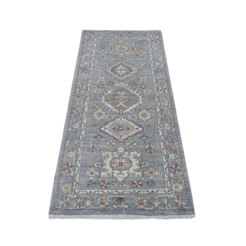 "Shahbanu Rugs Colorful Peshawar with Karajeh Design Natural Wool Hand Knotted Runner Oriental Rug (2'9"" x 5'8"") - 2'9"" x 5'8"""