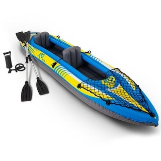 Goplus 2 Person Inflatable Canoe Boat Kayak Set With Oar And Hand Pump