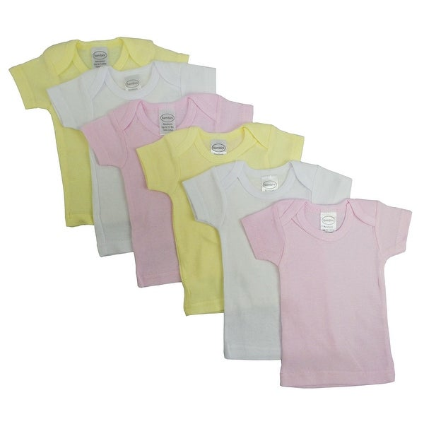 Bambini Girl's White, Yellow, Pink Rib Knit Short Sleeve T-Shirt 6 - Pack