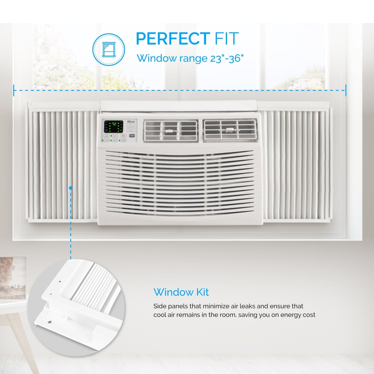 DELLA Window Mounted 8000 BTU Mini Air Conditioner Indoor 115V AC Remote  Controled Up to 350 SQ FT Energy Star White