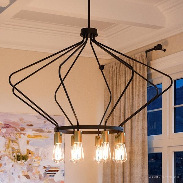 """Luxury Mid-Century Modern Chandelier, 24.875""""H x 40""""W, with Industrial Chic Style, Olde Bronze Finish by Urban Ambiance. Opens flyout."""