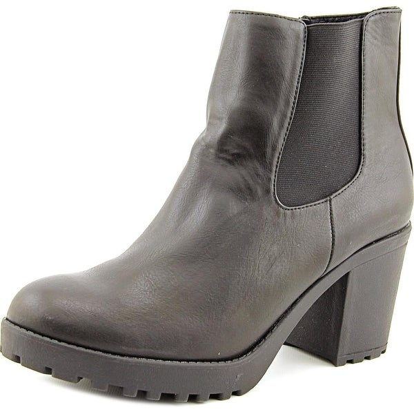 Wanted Santiago Women Round Toe Leather Black Ankle Boot