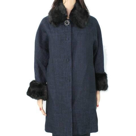 BeatriceBWomen's Coat Black Size XXS Duffle Faux Fur Trim Tweed
