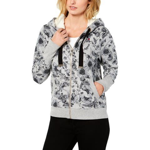 Tommy Hilfiger Womens Hoodie Floral Sherpa Lined - XXL