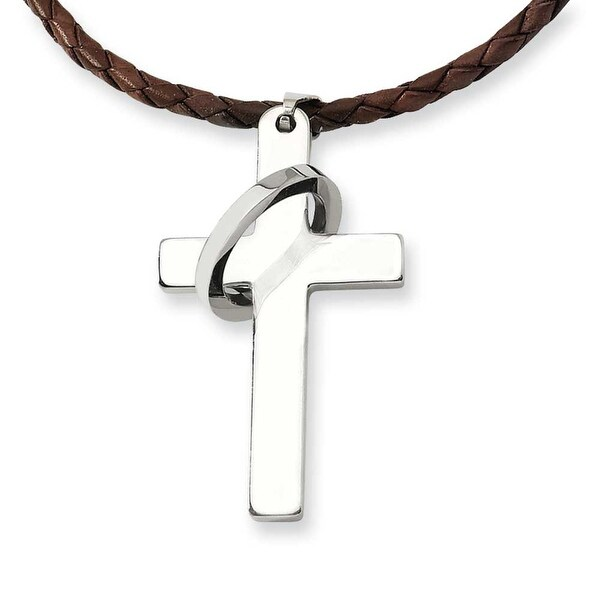 Chisel Stainless Steel Cross Pendant Necklace (3 mm) - 18 in