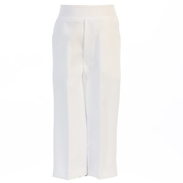 e5b2d50983 Baby Boys White Elastic Waistband Special Occasion Long Dress Pants 3-24M