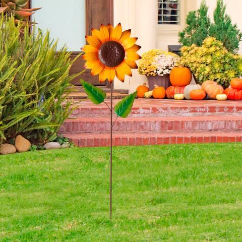 """Glitzhome 42""""H Fall Metal Sunflower Yard Stake"""