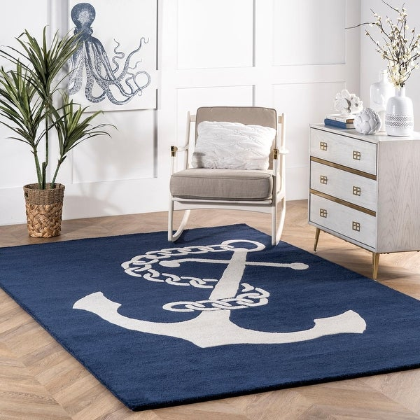 nuLOOM Navy Handmade Anchor Wool Area Rug. Opens flyout.