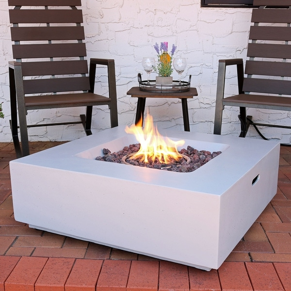 Shop Sunnydaze Contempo Square Outdoor Propane Gas Fire Pit With Cover 34 Inch On
