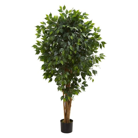 """Nearly Natural Home Decorative 5.5' Ficus Artificial Faux Tree - 12"""" D - Not Available"""