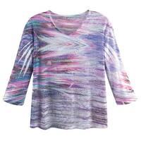 8fb77601d76 Women's Rhinestone Embellished T-Shirt - Lilac V-Neck 3/4 Sleeve Tee
