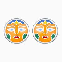 Vedantti Madhubani Art Sun Multi Color Enamel Round Shaped Earring