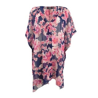 Link to DKNY Women's Floral-Print Chiffon Caftan Swim Top Cover-Up - Navy Multi Similar Items in Swimwear