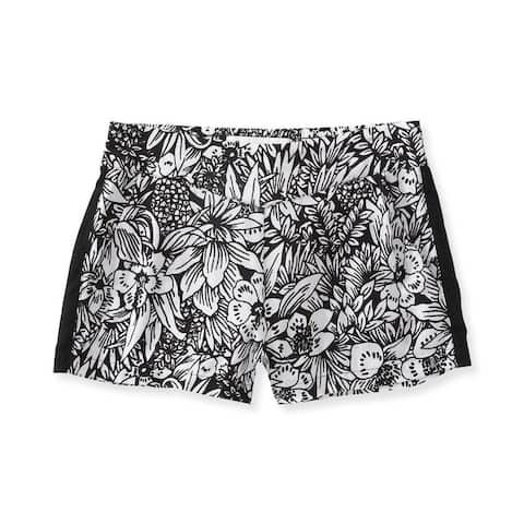 Aeropostale Womens Black And White Floral Casual Mini Shorts, black, X-Large