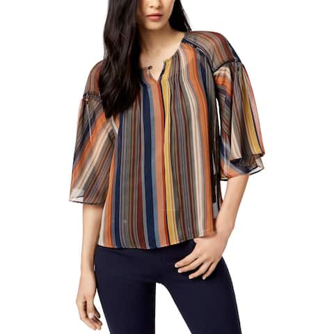 John Paul Richard Womens Petites Blouse Striped 3/4 Sleeve - Mid Summer Night - PS