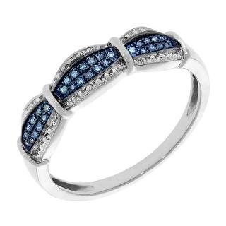 Prism Jewel 0.10Ct Round Brilliant Cut Blue Diamond Half Eternity Ring
