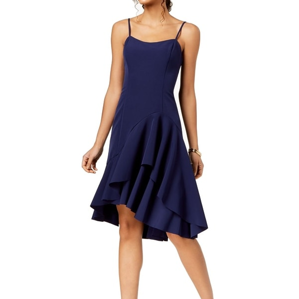67a4c16db03ff Shop Vince Camuto Navy Blue Womens Size 12 Ruffle Crepe A-Line Dress - Free  Shipping Today - Overstock - 27673384