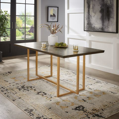 "Denver Charcoal Brown and Gold 68"" Rectangular Dining Table from iNSPIRE Q Modern"