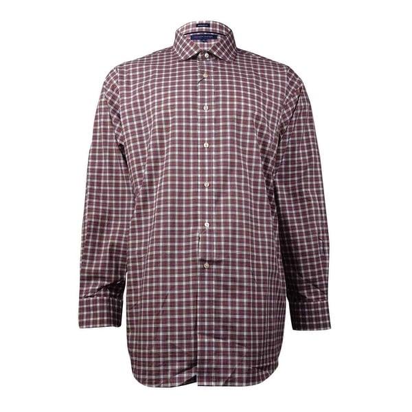 61567788 Shop Tommy Hilfiger Men's Plaid Dress Shirt (Red, 18/34-35) - Red -  18x34-35