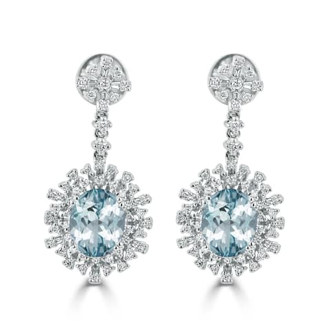 Auriya 3ct Fancy Oval-cut Aquamarine Halo Diamond Drop Earrings 1 1/3ctw 18k Gold