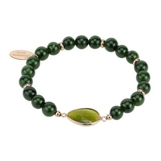 Zoccai 925 Green Agate Bracelet in Pink Gold-Toned Sterling Silver