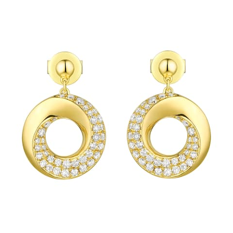 Vedantti 0.51Ct Round G-H Natural Diamond Open-Circle Bold Everyday Wear Drop Earring