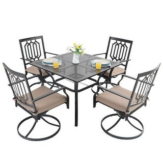 """Link to PHI VILLA 5-Pcs Outdoor Dining Set: Steel Swivel Dining Chair with Cushion and 37"""" x 37"""" Square Patio Bistro Table Similar Items in Dining Room & Bar Furniture"""