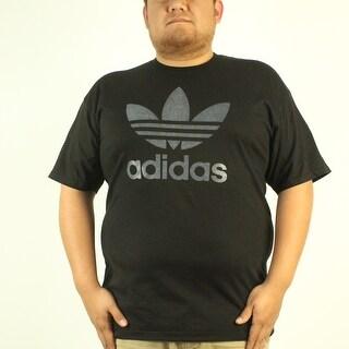 Adidas Trefoil Grey Classic Logo Men's Black T-shirt