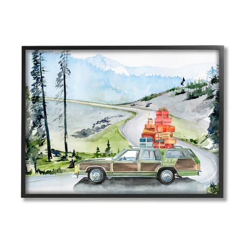 Stupell Industries Retro Station Wagon Rustic Christmas Travel Wrapped Presents Framed Wall Art