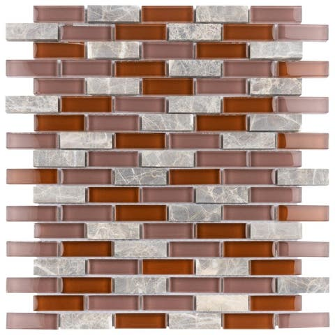 "SomerTile Tessera 11.75"" x11.75"" Subway Bordeaux Glass and Stone Mosaic Wall Tile (10 tiles/8.97 sqft.)"