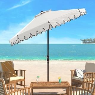 Link to SAFAVIEH Venice Single-scallop 8.5-ft. Crank White/Black Outdoor Umbrella Similar Items in Patio Umbrellas & Shades