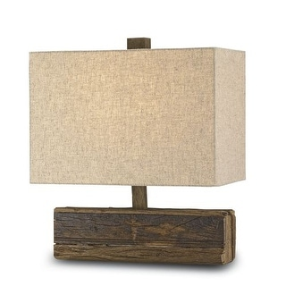 Currey and Company 6774 Structure 1 Light Wood Table Lamp with Black Linen Shade