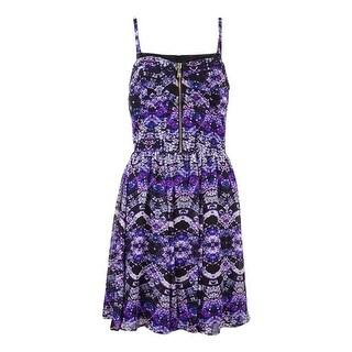 Guess Women's Sweetheart Front Zipper Printed Chiffon Dress - 8