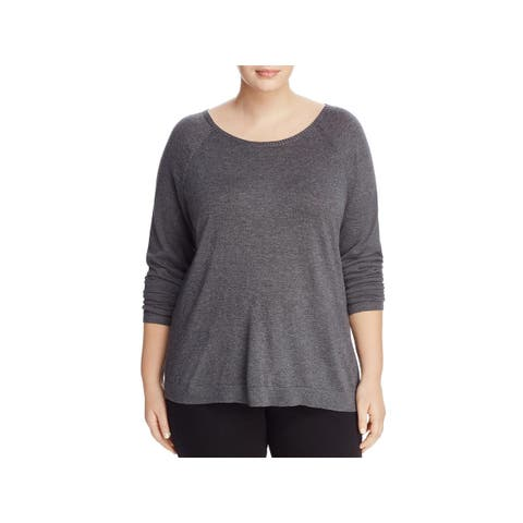 Eileen Fisher Womens Plus Casual Top Heathered Ballet Neck
