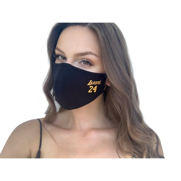 Reusable ad Washable Unisex Fashion Cloth Face Mask with Adjustable Straps, Lakers - Multi-color. Opens flyout.
