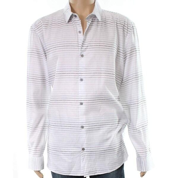 2dd6da77c6 Shop Alfani Blue Gray Mens Striped Button Down Shirt - Free Shipping On  Orders Over $45 - Overstock - 27026581