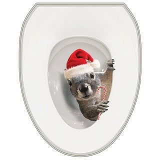 It's A Santa Squirrel! Toilet Seat Lid Cover Tattoo - Oval