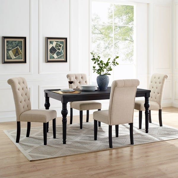 Leviton Urban Style Wood Dark Wash Turned-Leg Dining Set: Table and 4 Chairs. Opens flyout.