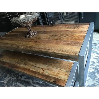 Timbergirl Reclaimed Wood Dining Table with Silver Metal Legs