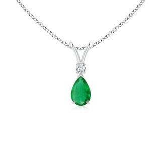Angara Pear Emerald Teardrop Pendant Necklace with Diamond