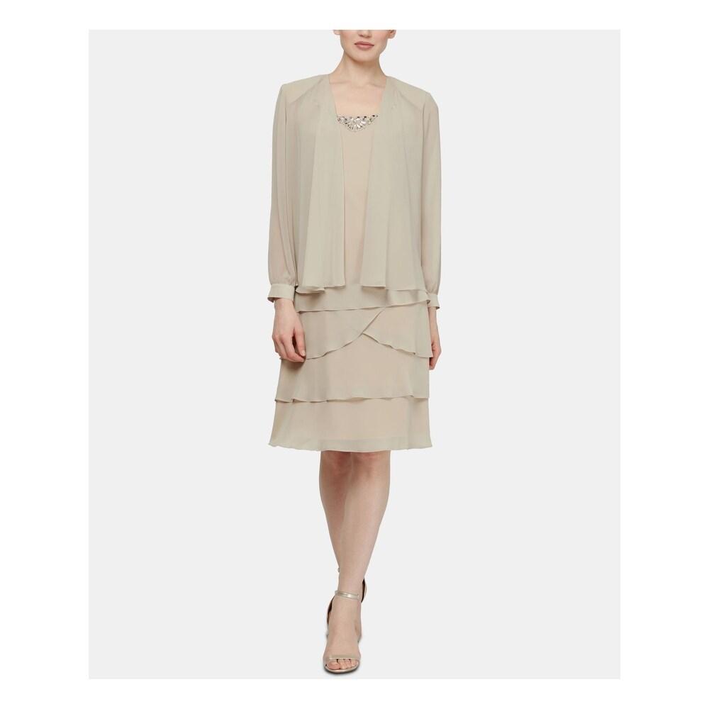 SLNY Beige Long Sleeve Below The Knee Sheath Dress Size 10
