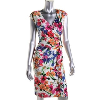 American Living Womens Matte Jersey Floral Print Wear to Work Dress