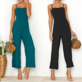 Women's Solid Color Sleeveless Wide Long Pants Jumpsuit