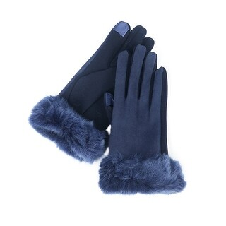 Mad Style Navy Faux Suede and Fur Texting Gloves
